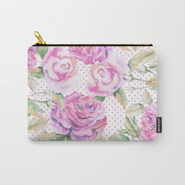 Watercolor hand painted pink lavender roses polka dots Carry-All Pouch