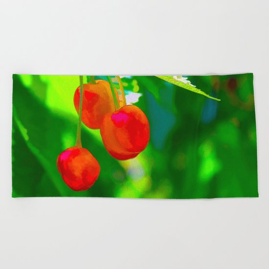 Red Cherries Painting Beach Towel