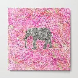 Pink Safari | Tribal Paisley Elephant Henna Pattern Metal Print
