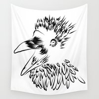 raven Wall Tapestries featuring Raven by Jessica Slater Design & Illustration