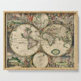 1689 Map of the World by Gerard van Schagen Serving Tray