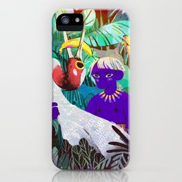A Banana Island Boi and A Red Headed Crane iPhone Case