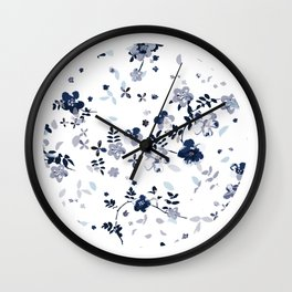 Indigo Blue Clematis Floral Pattern Wall Clock
