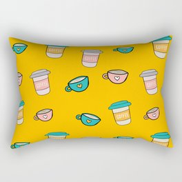 Happy coffee cups and mugs in yellow background Rectangular Pillow