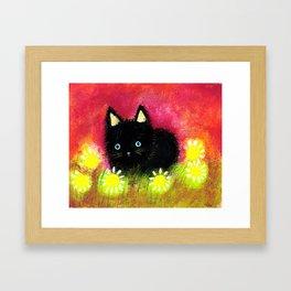 Black kitten Framed Art Print