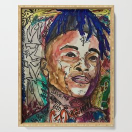 X,rapper,rip,hiphop,music icon,lyrics,colourful poster,dope,wall art,cool,shirt Serving Tray