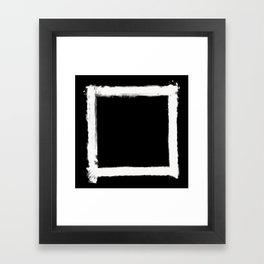 Square Strokes White on Black Framed Art Print