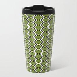 1960's Inspired Green, Yellow, Black and White Pattern Metal Travel Mug