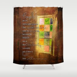 True Beauty Window with Quote Shower Curtain