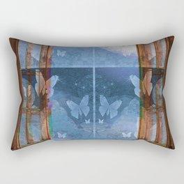 Night Sky Butterfly Moon Window Rectangular Pillow