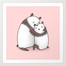 Panda Cuddle Art Print