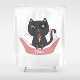 Cat Ice Cream Shower Curtain