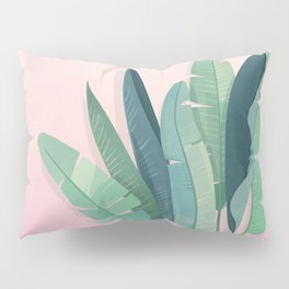 Tropical plants on pink background Pillow Sham
