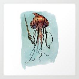 Jellyfish Wizard Art Print