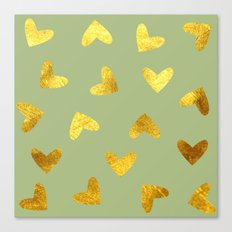 gold heart pattern Canvas Print