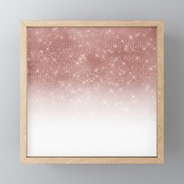 Girly Faux Rose Gold Sequin Glitter White Ombre Framed Mini Art Print