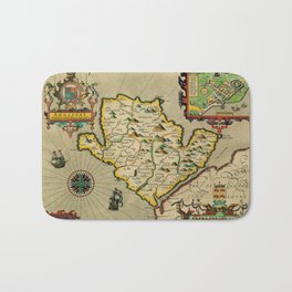 Map Of Anglesey 1608 Bath Mat