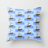 pirate ship Throw Pillows featuring Pirate Ship by Isobel Woodcock Illustration