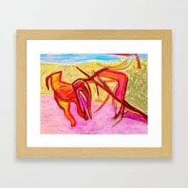 Dog Run in Park Framed Art Print