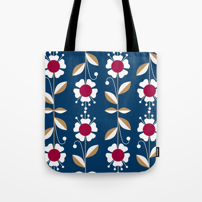 Blue floral pattern . Tote Bag