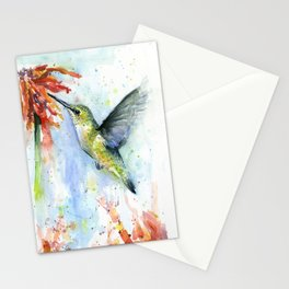 Hummingbird Red Flower Watercolor Bird Stationery Cards