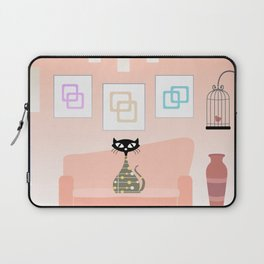Mid-century cat with a living room companion - light brown Laptop Sleeve
