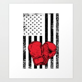 US Gloves Flag Boxing Gloves Funny Happy 4th Fourth Of July Art Print