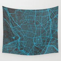 madrid Wall Tapestries featuring Madrid by Map Map Maps