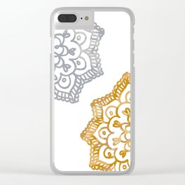 Gold and silver lace floral Clear iPhone Case