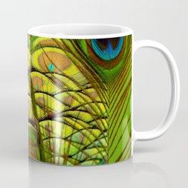 GREEN-YELLOW PEACOCK ART Coffee Mug