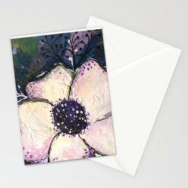 Happy White Flower Stationery Cards