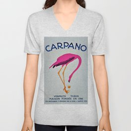 Vintage Carpano Pink Flamingo Motif Vermouth Advertisement Poster Unisex V-Neck