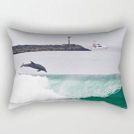 Dolphin Jumping @ Wedge Newport Beach Rectangular Pillow
