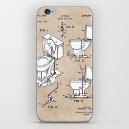 patent art Fields Toilet seat lifter 1967 iPhone Skin