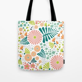 Whimsical flowers - pink, white and green Tote Bag