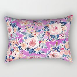 ROMANTIC AF Colorful Wild Floral Rectangular Pillow