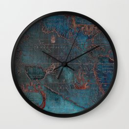 Antique Map Teal Blue and Copper Wall Clock