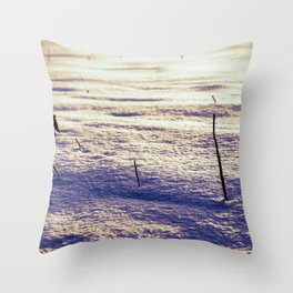 Agricultural Field Stubble in Freshly Fallen Snow Throw Pillow