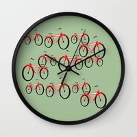 bikes Wall Clocks featuring Bikes  by David Michael Schmidt