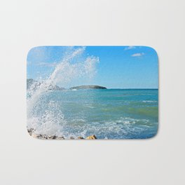 Big wave on the blue sea Bath Mat