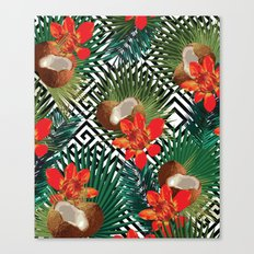 Coconut leaf with green tropical #society6 Canvas Print