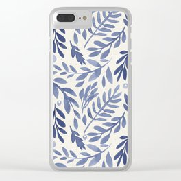 Seamless Beautiful Pattern Purple Periwinkle Leaves Clear iPhone Case