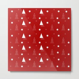Red Christmas pattern elegant minimal tree Metal Print