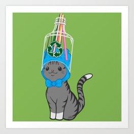 Grey Tabby Wears Recycled Plastic Hat Art Print