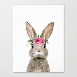 Baby Rabbit with Flower Crown Canvas Print