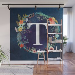 Personalized Monogram Initial Letter T Floral Wreath Artwork Wall Mural