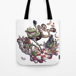 Frog on The Table Tote Bag
