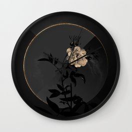 Shadowy White Rose of York Botanical on Black and Gold Wall Clock