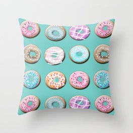 Donuts for tea Throw Pillow