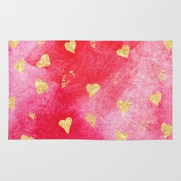 Red And Gold Watercolor Hearts Textures And Patterns Rug